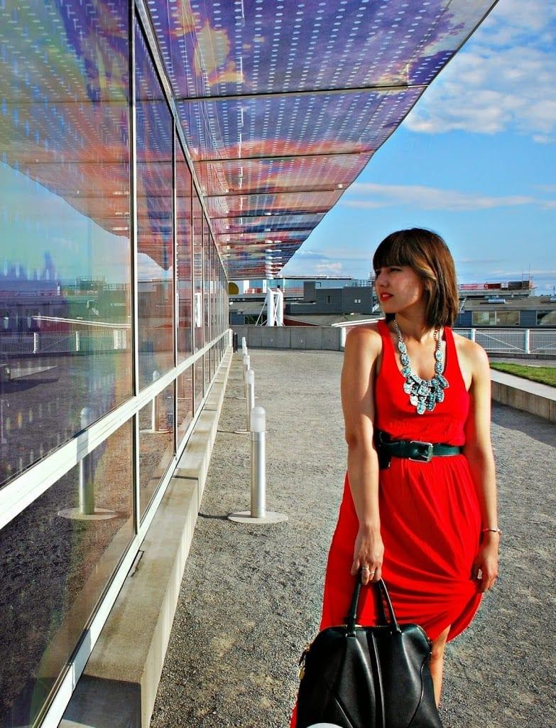Red halter maxi dress