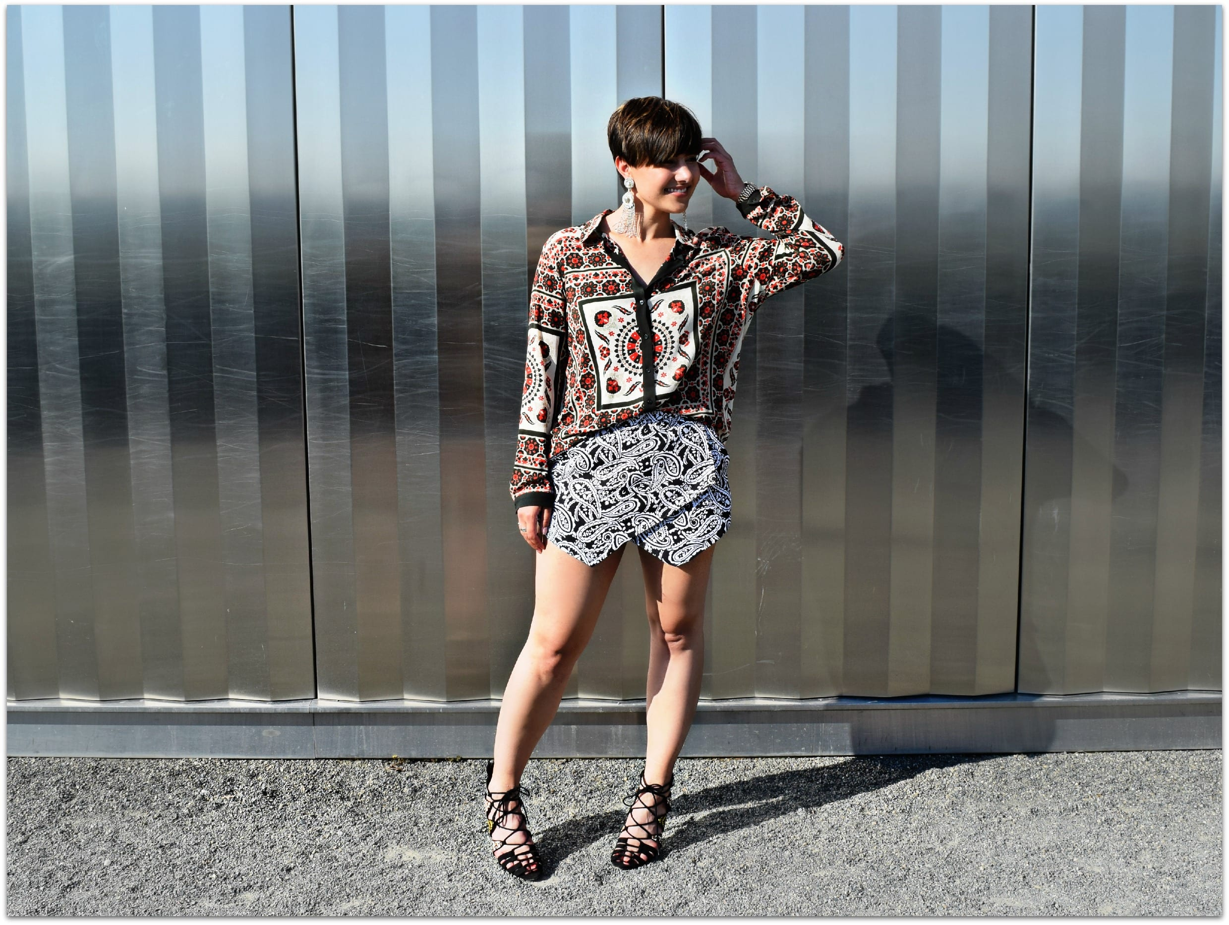Clashing Prints Street Style Outfit