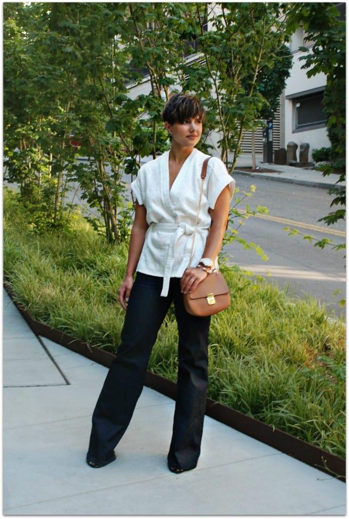 White Zara Blouse Flare Jeans