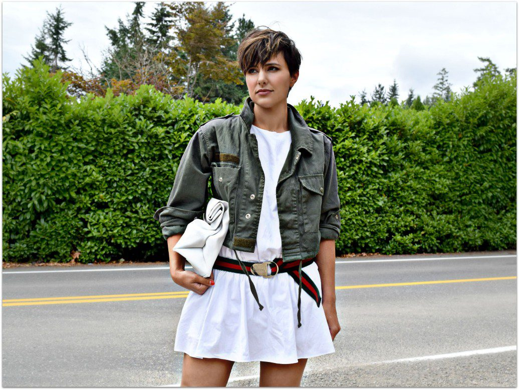 Military Green Topshop Cropped Jacket