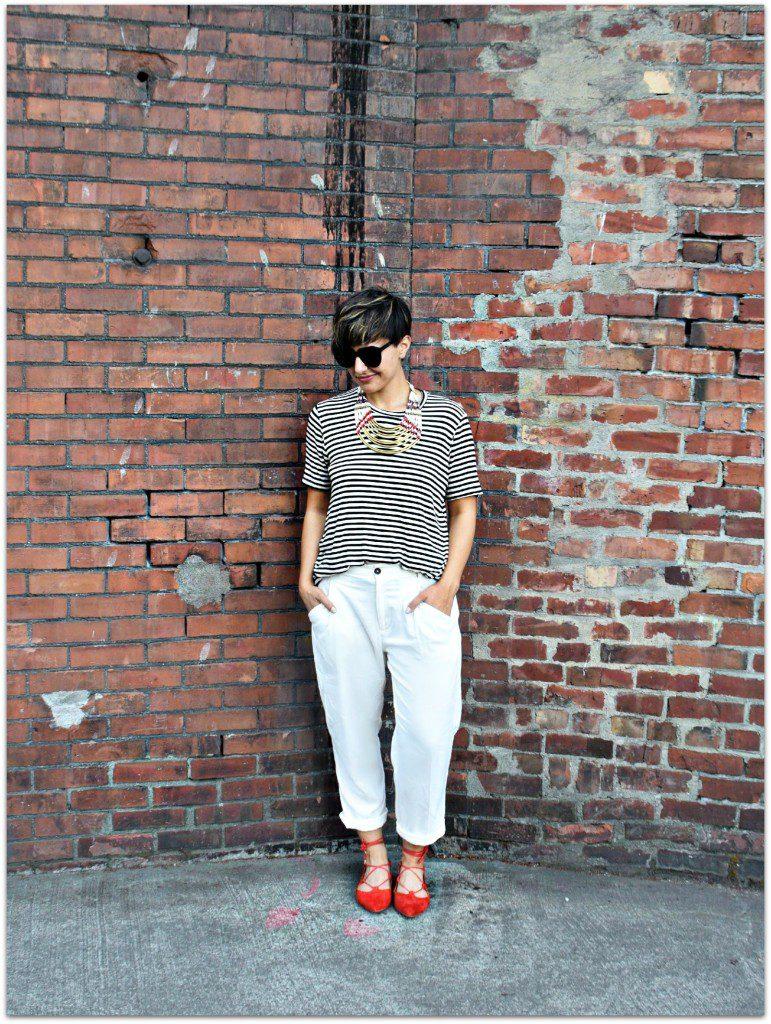 Boyish Stripes and Lace-up Flats