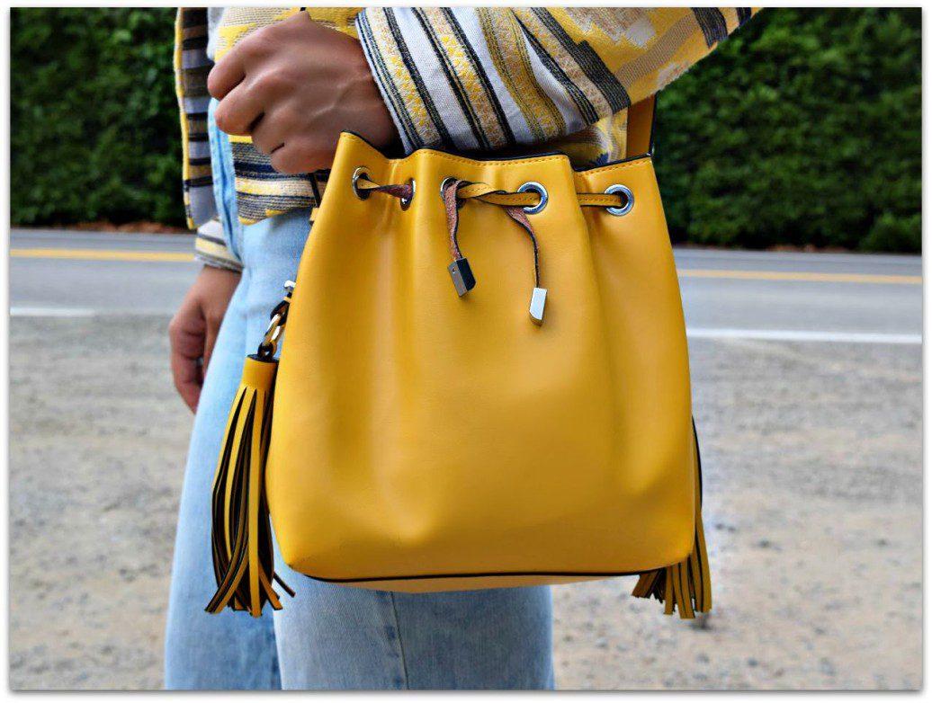 Zara Yellow Fringe Bucket Bag