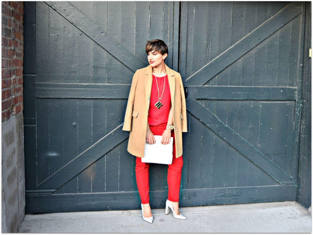 Red Outfit Camel Coat