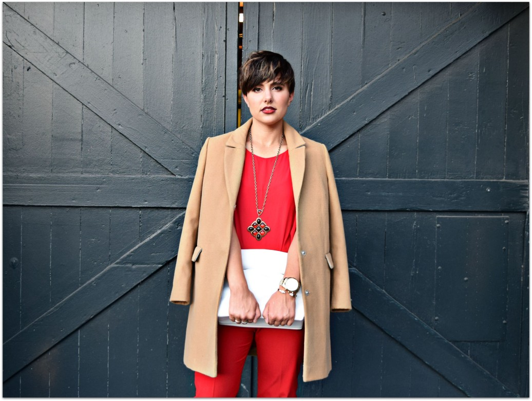 Red Outfit Camel Coat- Seattle Blogger