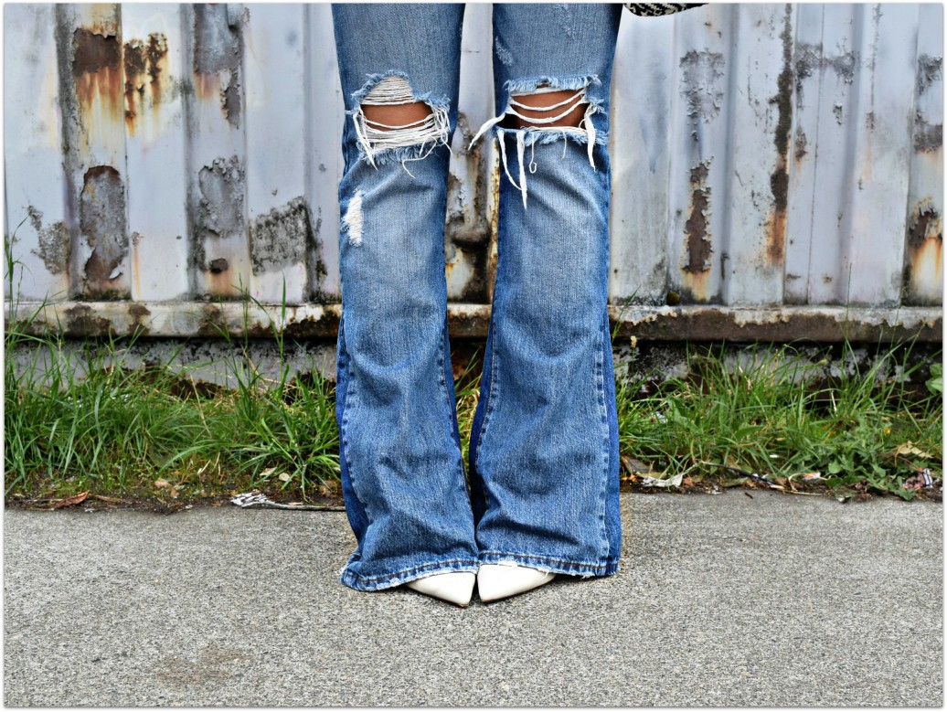 casual 70s ripped flares