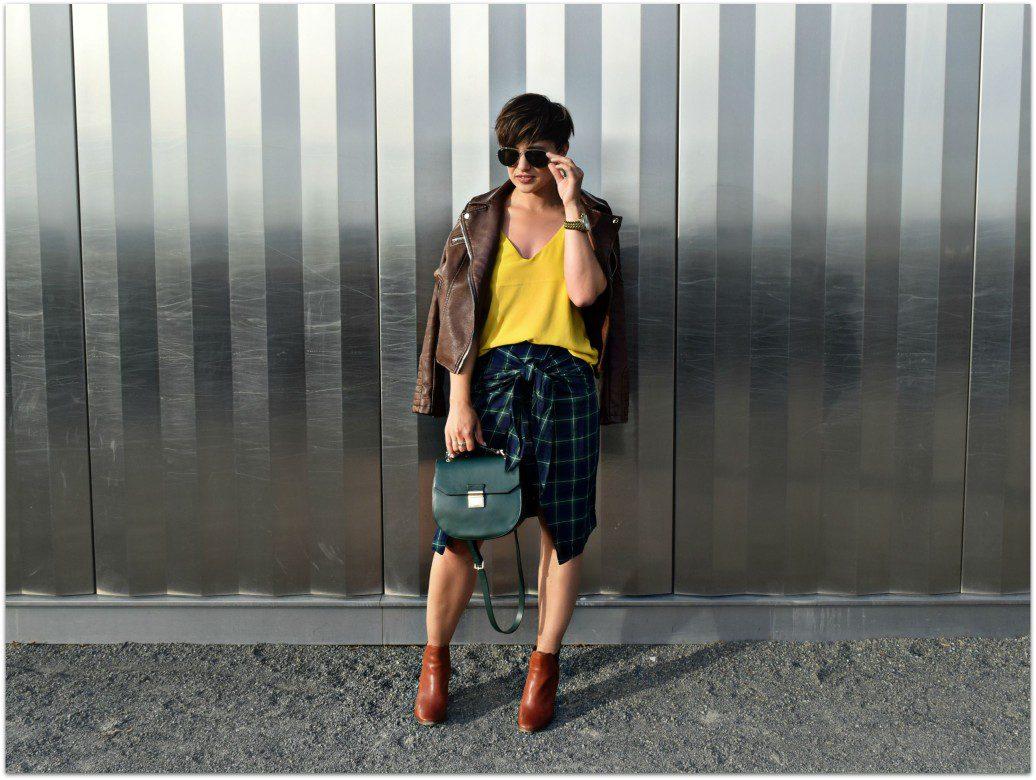 Wrap Faux Tie Skirt Plaid- Street Style