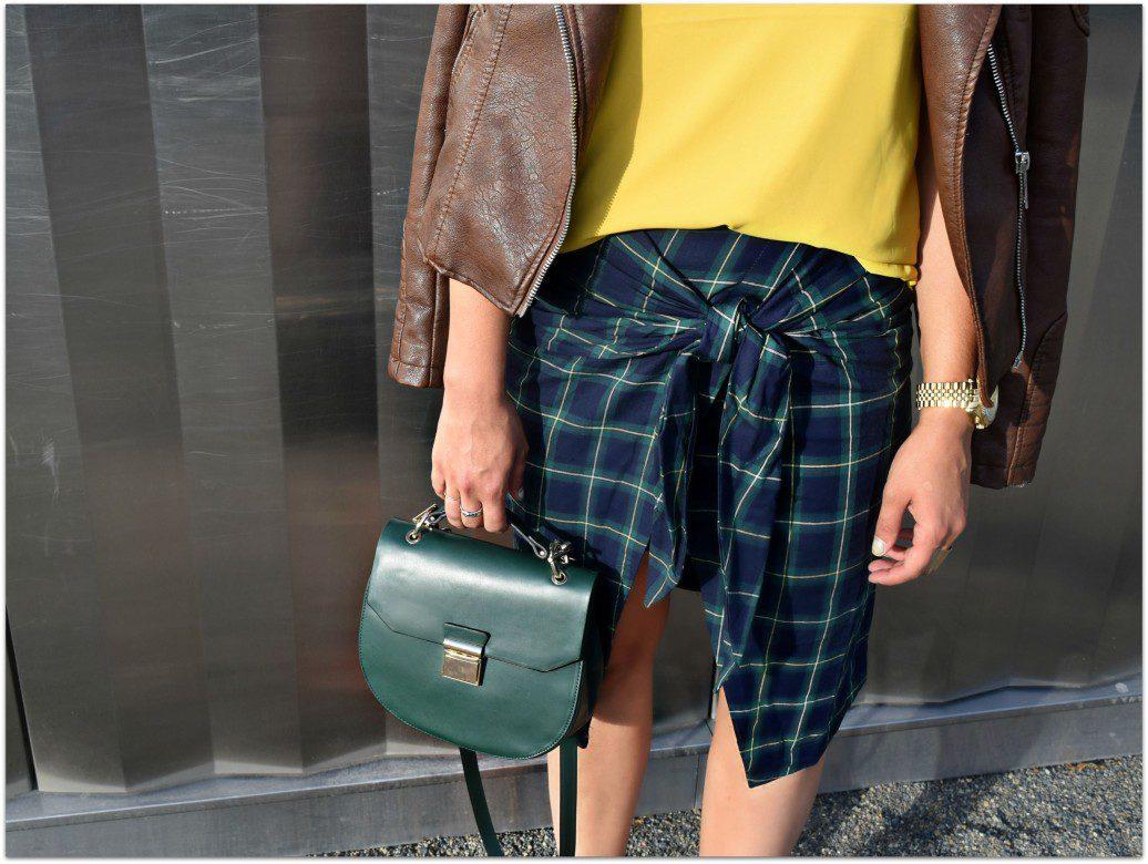 Wrap Faux Tie Skirt Plaid- Street Style JOA