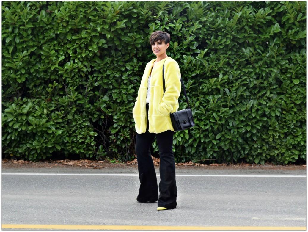Yellow Zara Faux Fur Coat