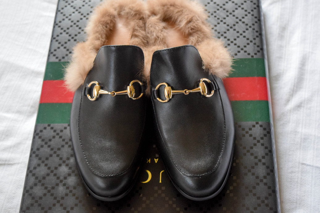 Gucci knockoff fur loafers-Jessica Buurman