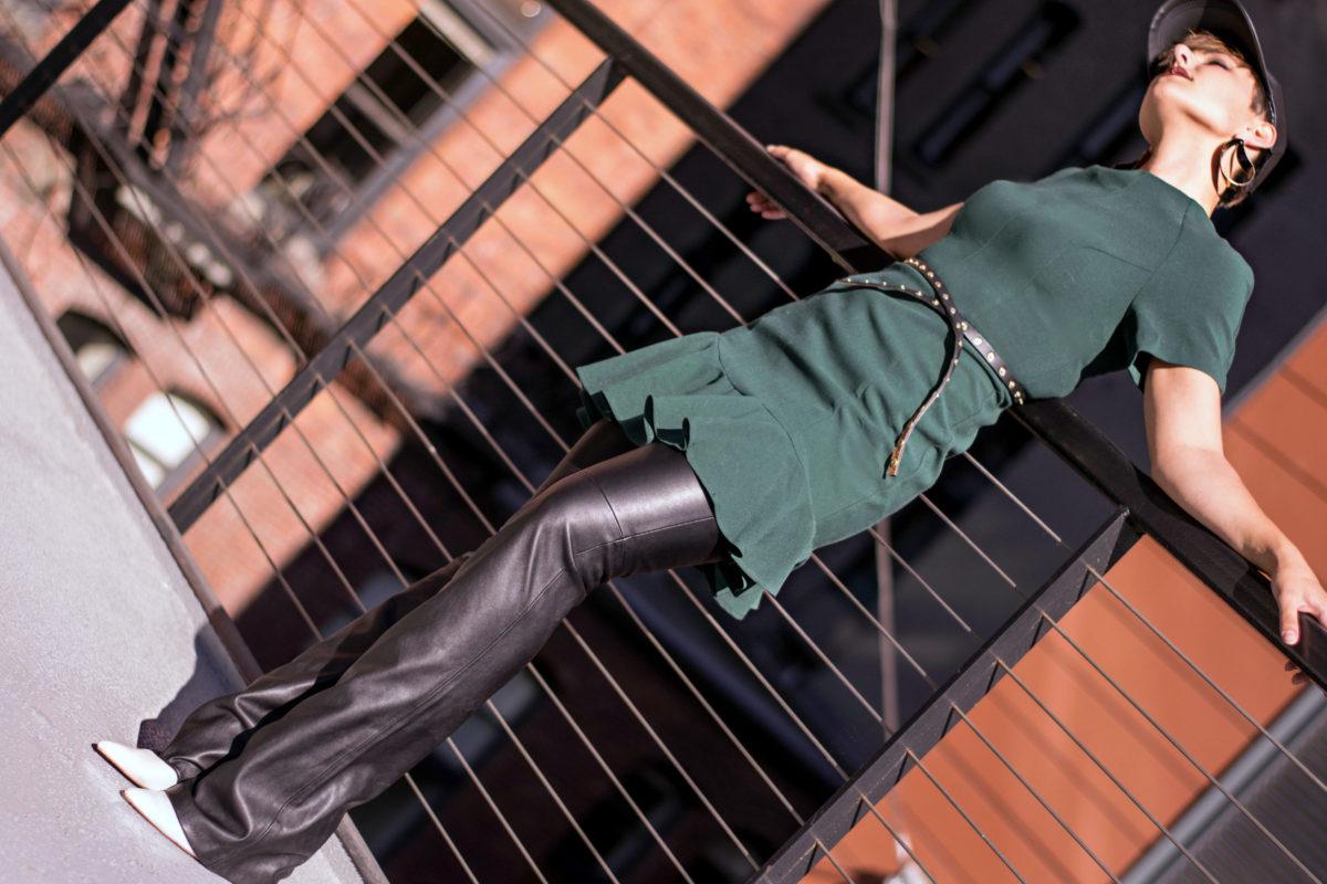 Mini Dress Over Leather Pants- Blogger Not Billionaire
