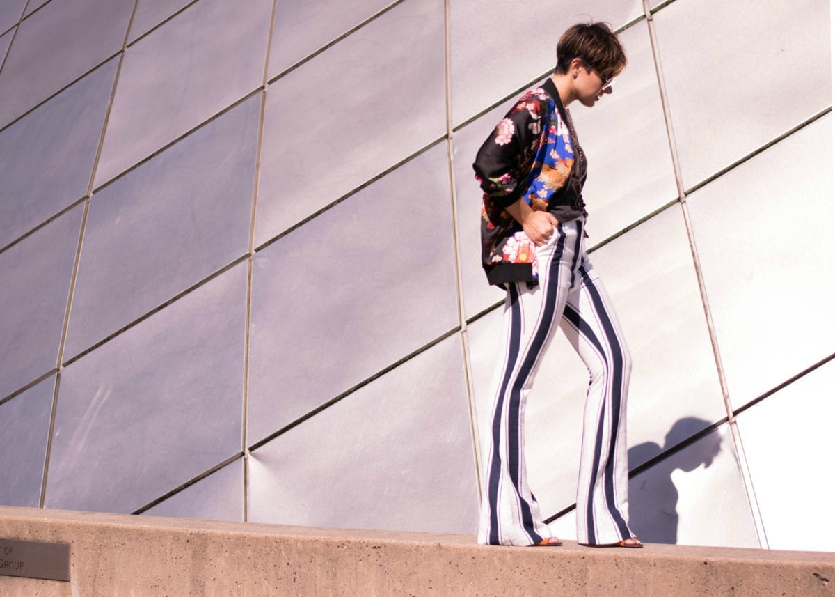 Mixing Prints: Striped pants & a floral bomber-Blogger Not Billionaire
