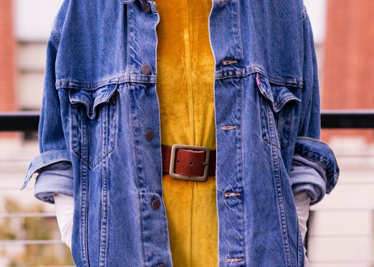 Gold Velvet & Vintage Levis Jacket-BloggerNotBillionaire