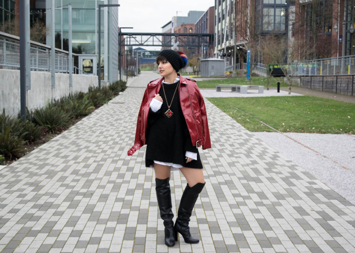 Over the Knee Boots + Oversized Sweater: BloggerNotBillionaire