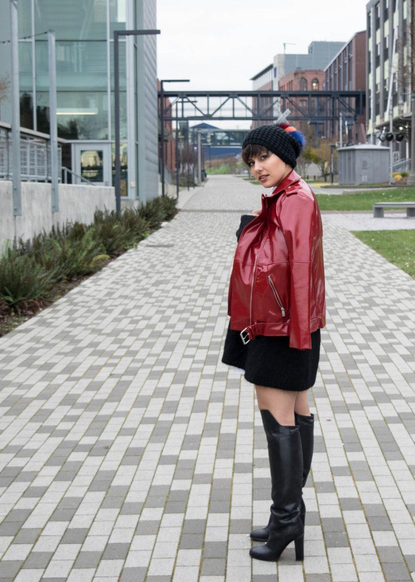 Red Patent Leather Zara Moto Jacket- BloggerNotBillionaire