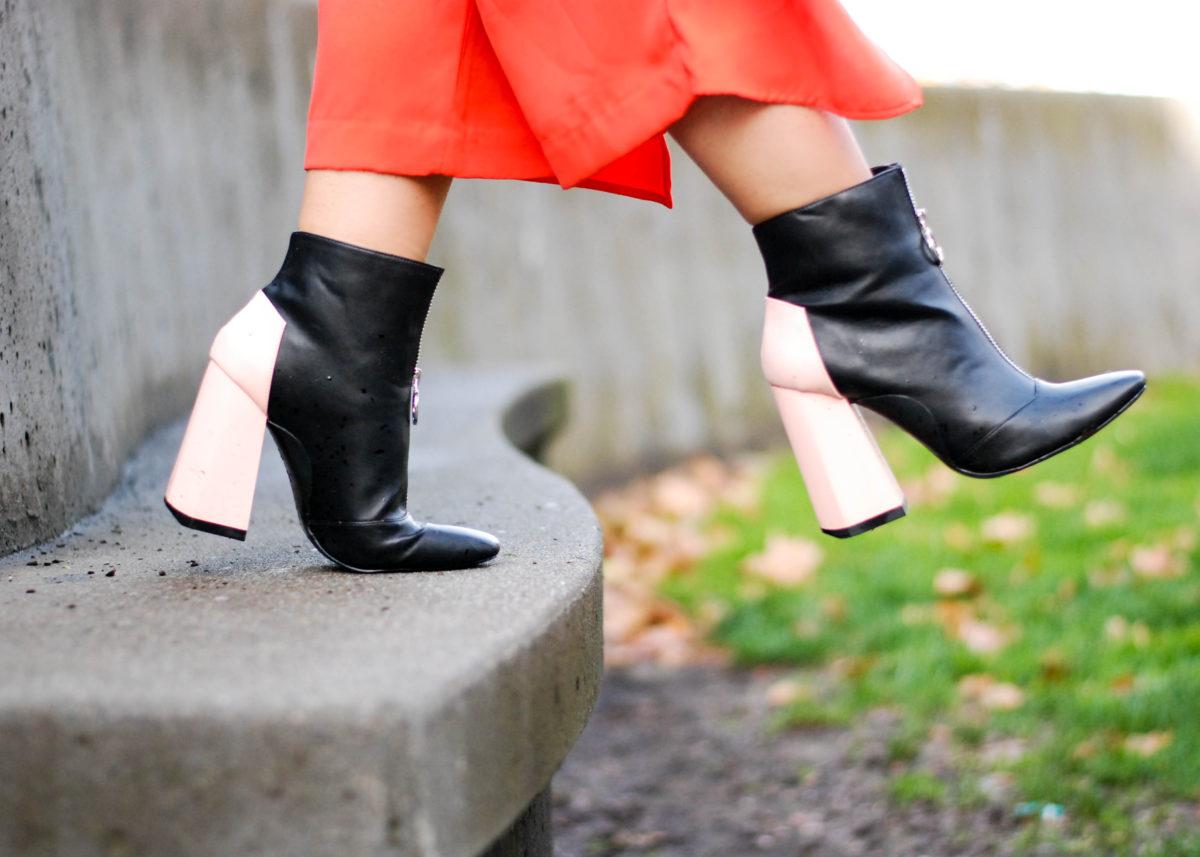 Zara Contrast Heel Zip Boot- BloggerNotBillionaire.com