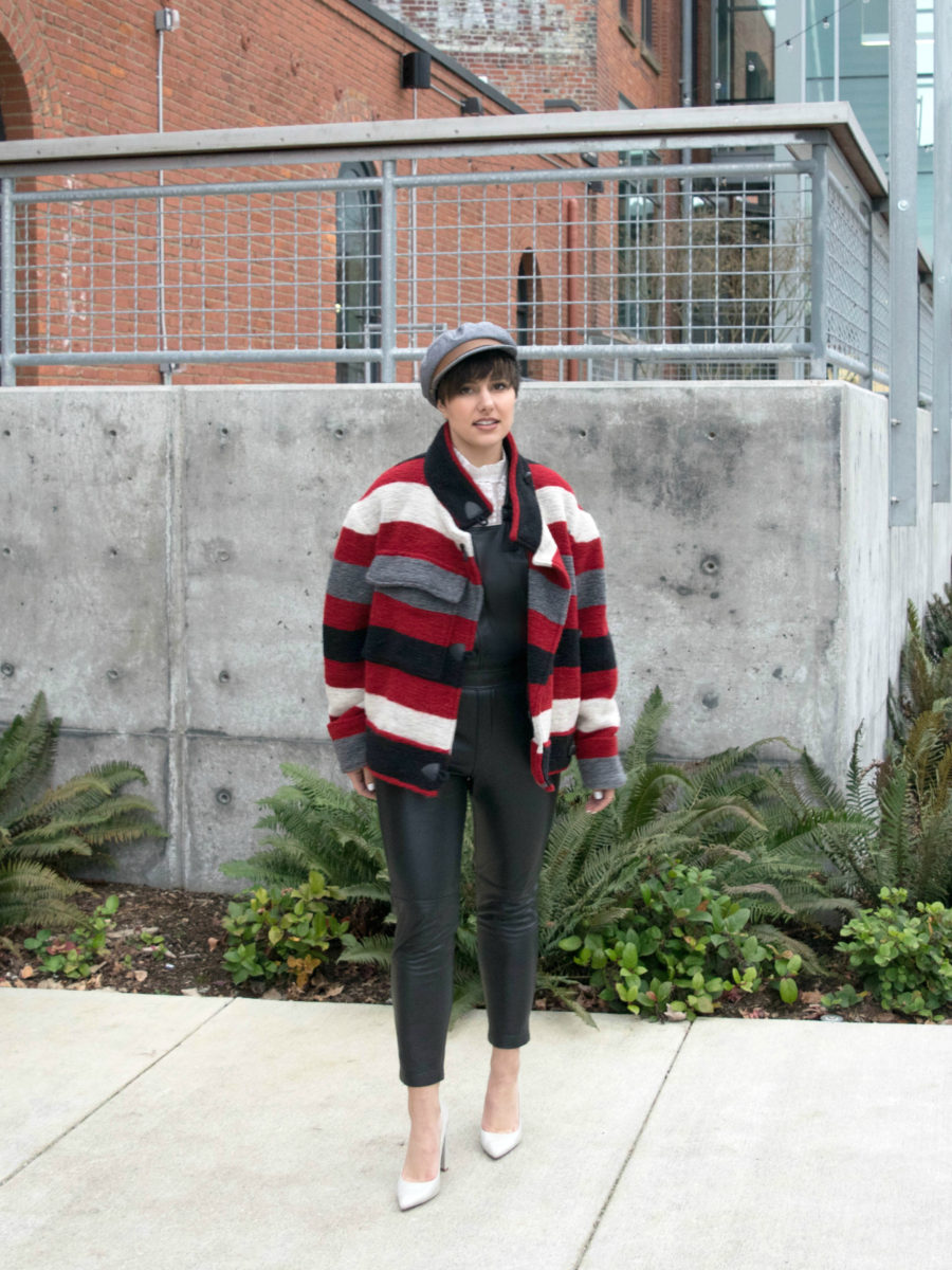Etoile 'Fred' Coat and Leather Overalls- BloggerNotBillionaire.com