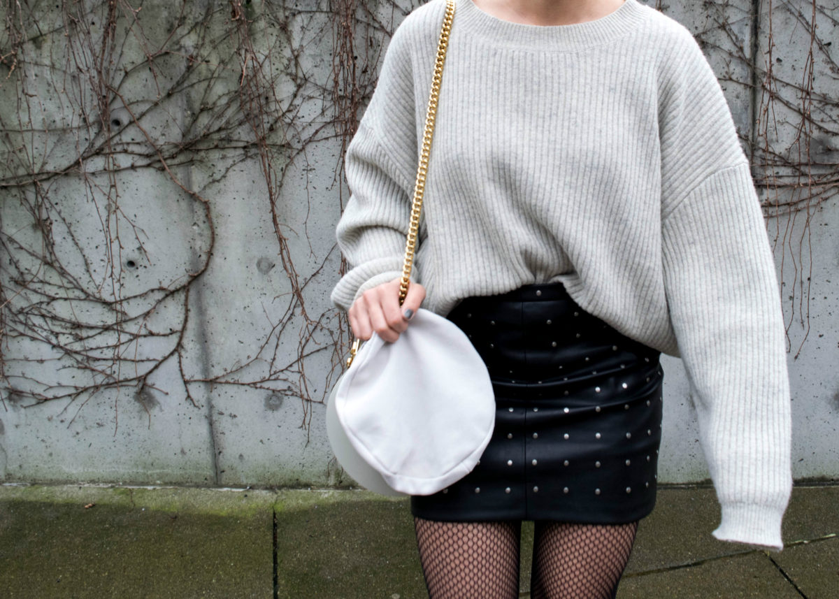 Just Female Knit-How to Wear Oversized Fishnet Tights: Outfit 1-- BloggerNotBillionaire