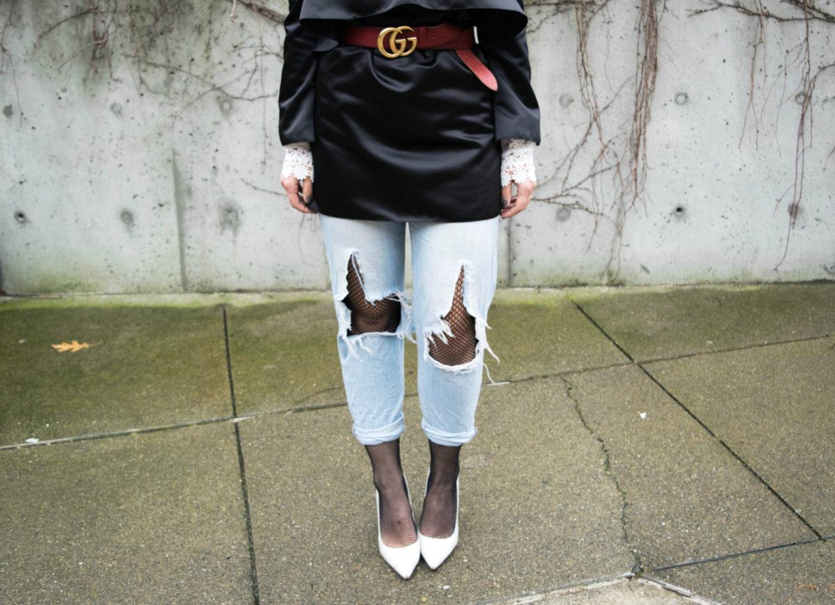 Red Gucci Belt- Fishnets under ripped jeans- BloggerNotBillionaire.com
