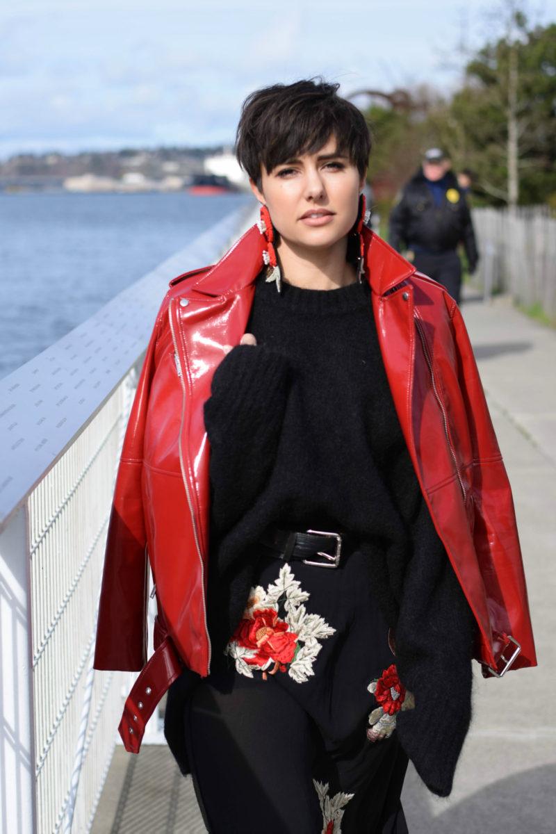 Patent Red Moto Jacket- BloggerNotBillionaire