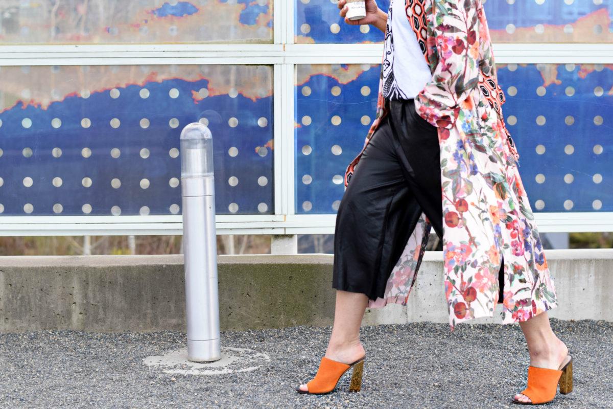 Outside PFW- Floral Kimono & Leather Culottes- BloggerNotBillionaire.com