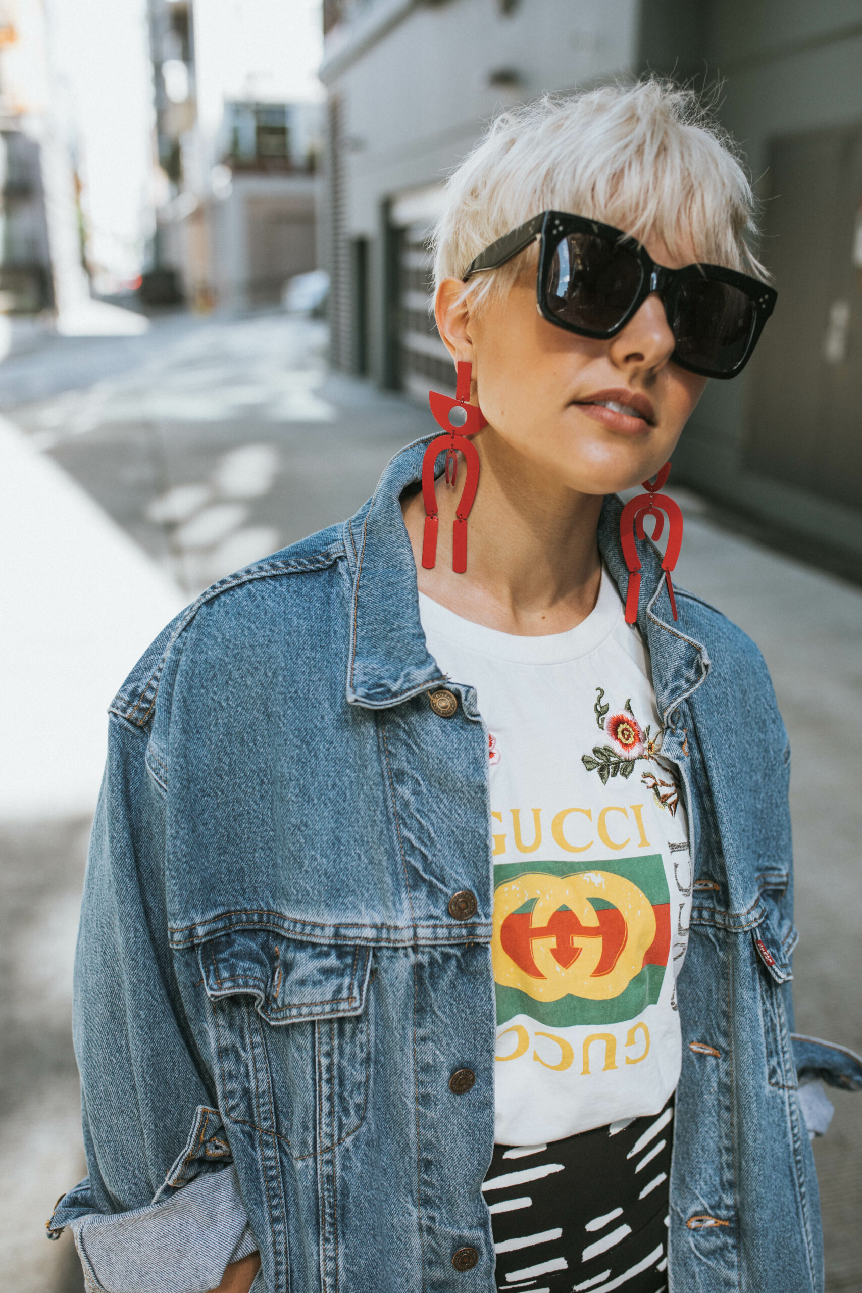 Mango Earrings, Gucci Tee, Celine Sunnies- BloggerNotBillionaire.com