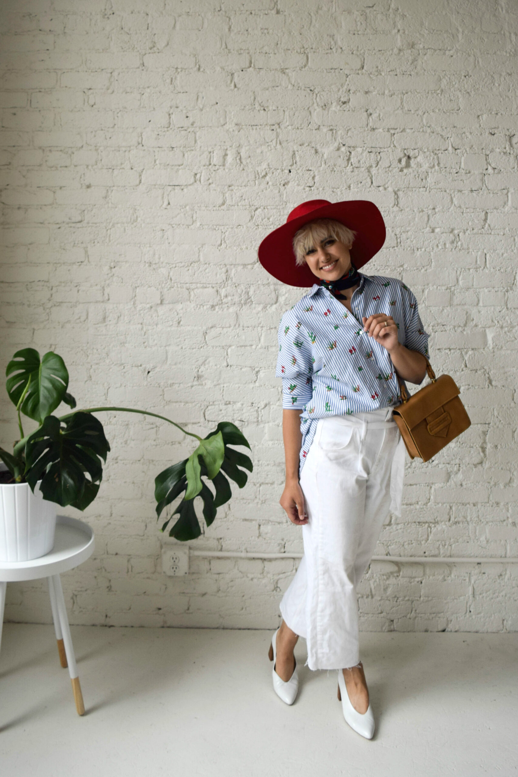 Wide Leg White Jeans and a button up: Vacation trends -BloggerNotBillionaire.com