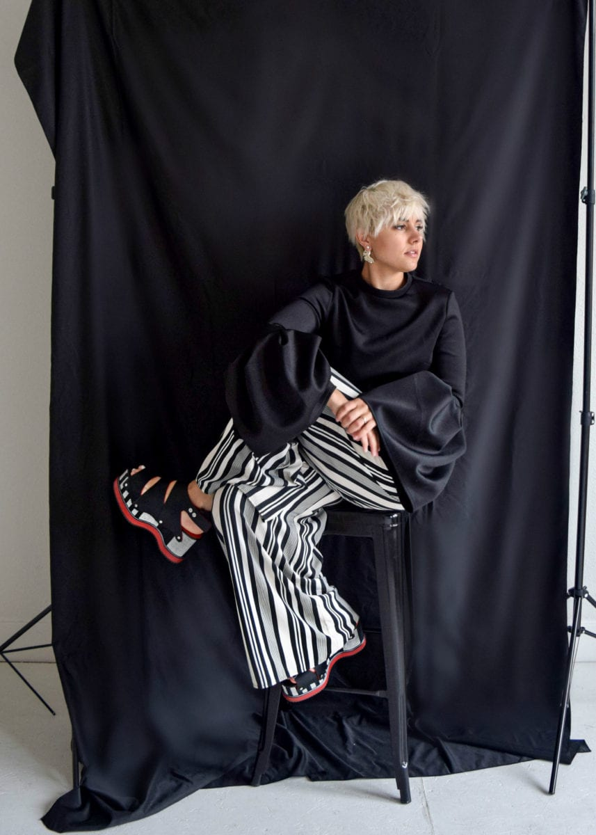 Striped Wide Pants as worn by Blogger Not Billionaire