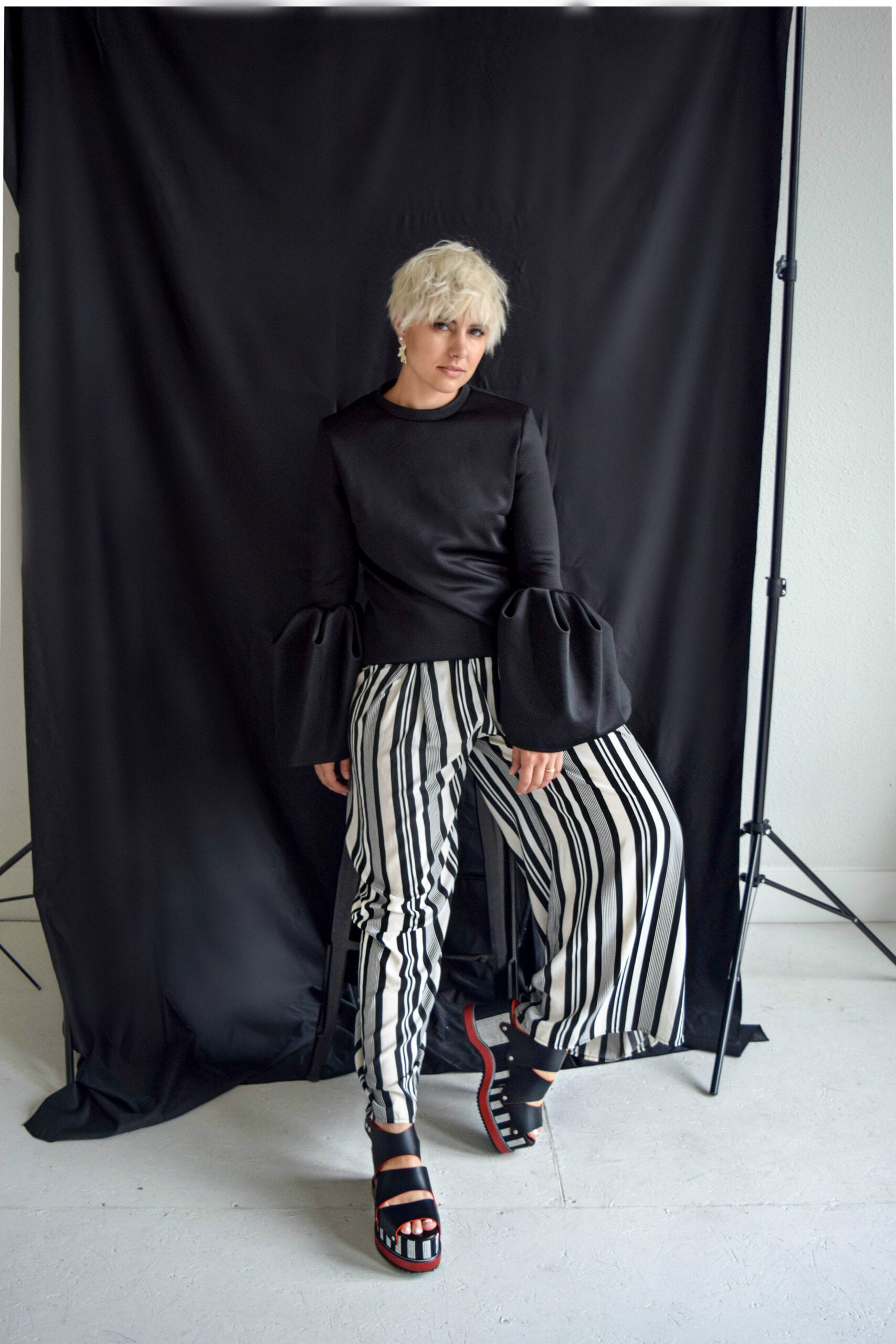 Wide Striped Pants as Worn by Fashion Blogger Rebecca from Blogger Not Billionaire