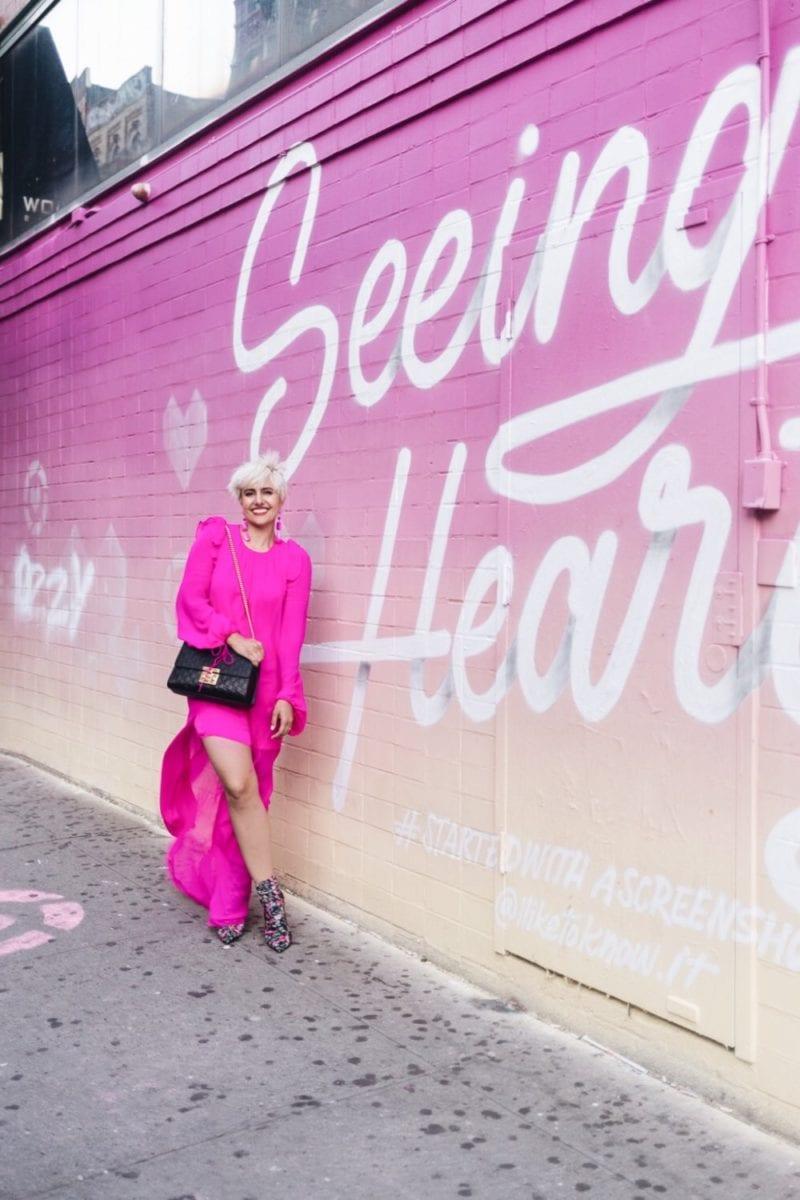 Rewardstyle Seeing Hearts Wall NYC Fashion Week