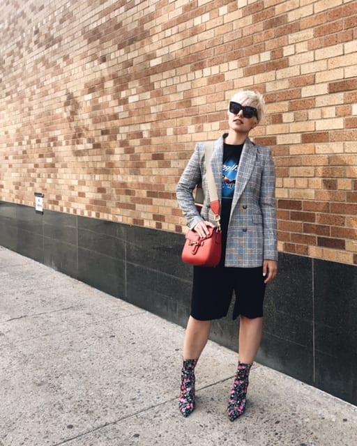 NYFW Day 3 Street Style Check Blazer