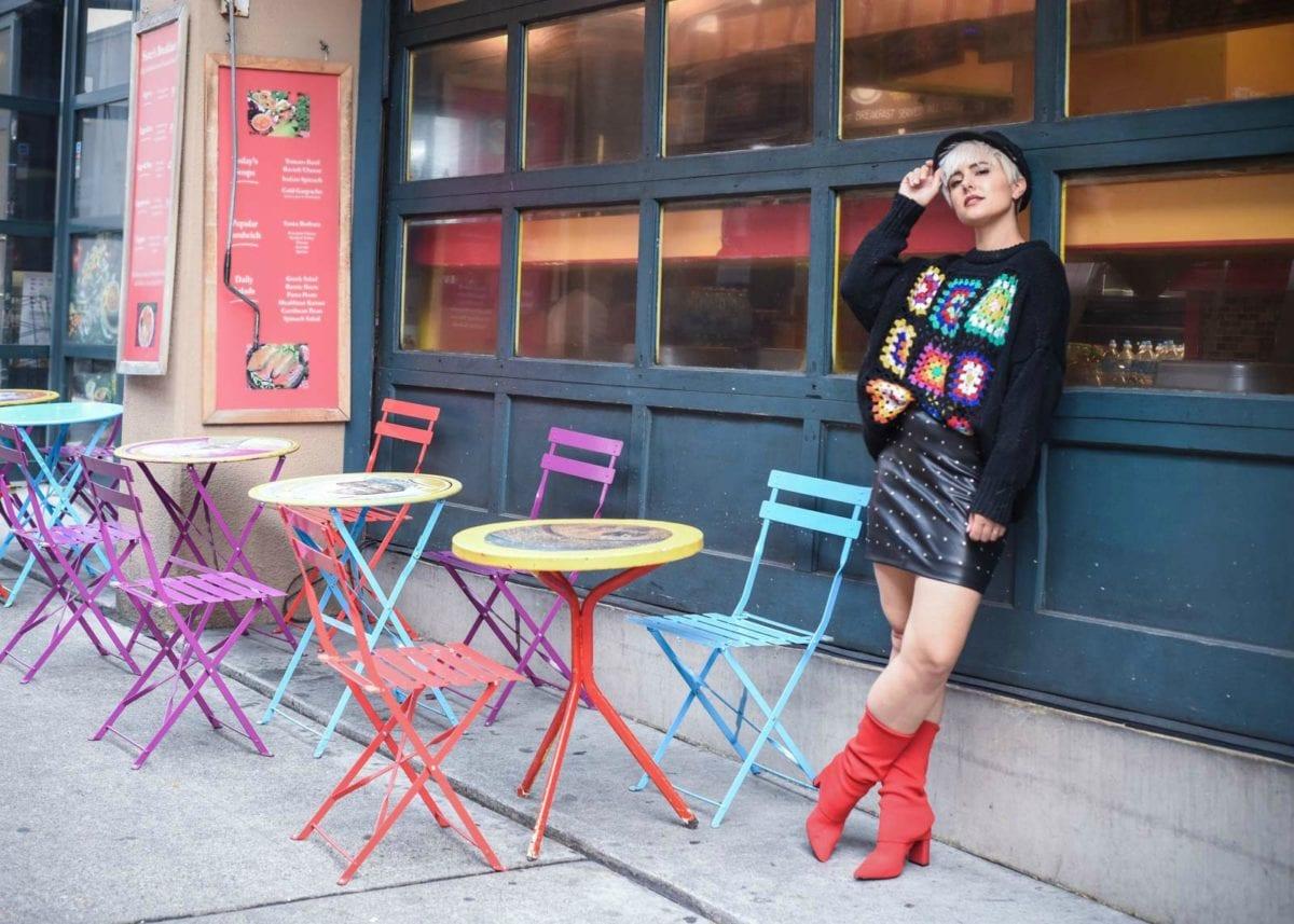 Crochet Zara Sweater & Red Sock Boots