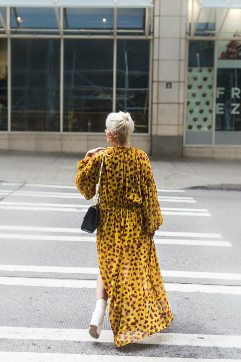 2 Ways to Wear Your Favorite Fall Maxi Dress: Mango Yellow FLoral Dress