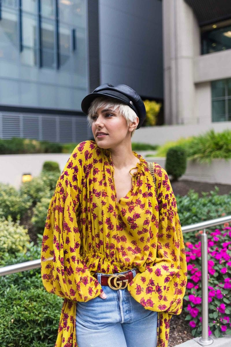 2 Ways to Wear Your Favorite Fall Maxi Dress: Mango Yellow FLoral Dress & Brixton Leather Cap