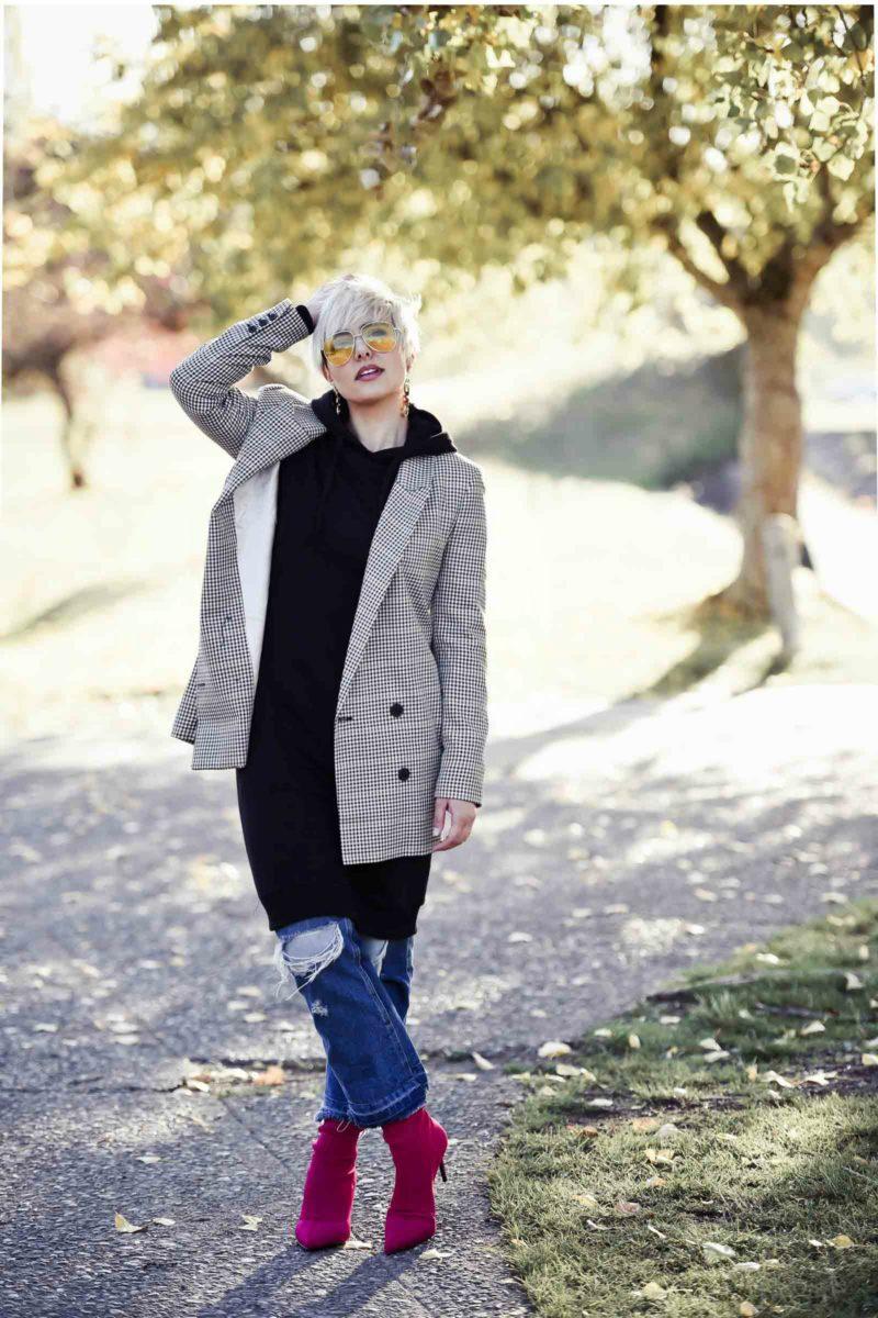 Street Style Trends: Layering a Sweatshirt Under a Check Blazer