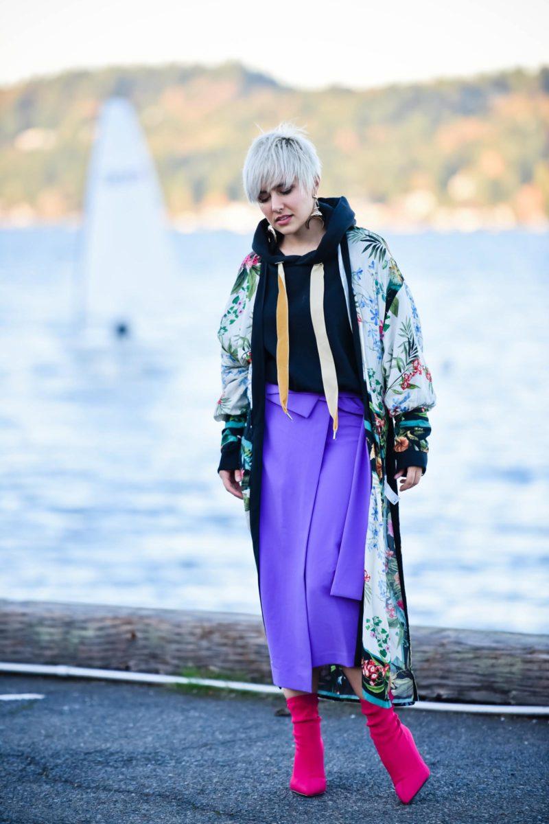 Street Style Trends: Layering a Sweatshirt Under a Kimono