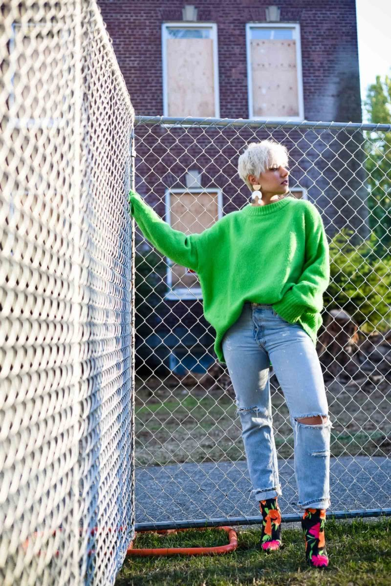 It's Easy Being Green: Embracing An Oversized Green Sweater for Winter