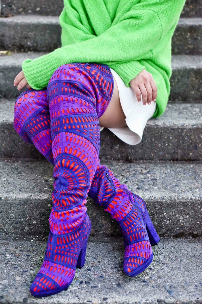 Jeffrey Campbell Laser Cut Multi-Colored Boots