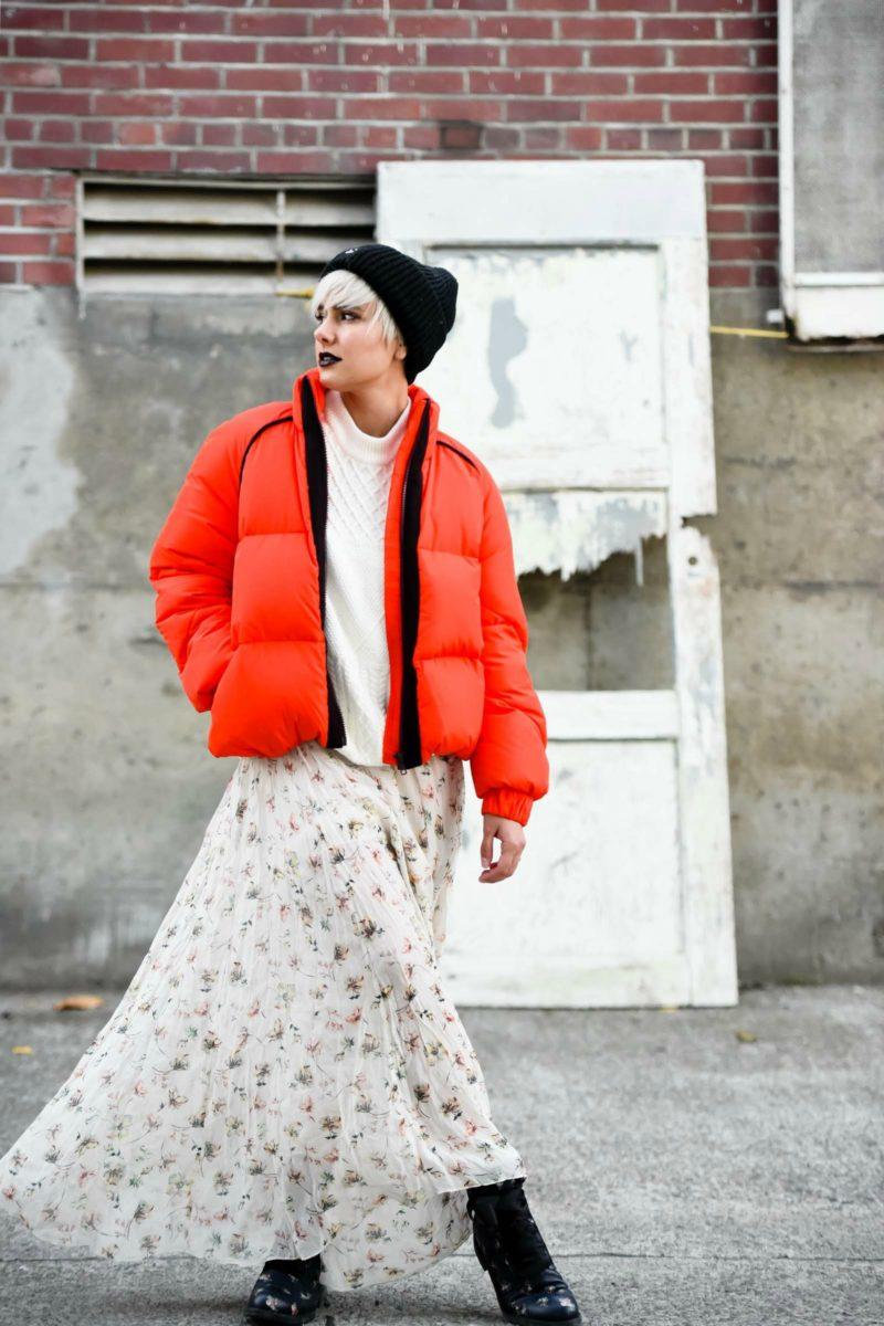 Ganni Fountain Down Orange Coat