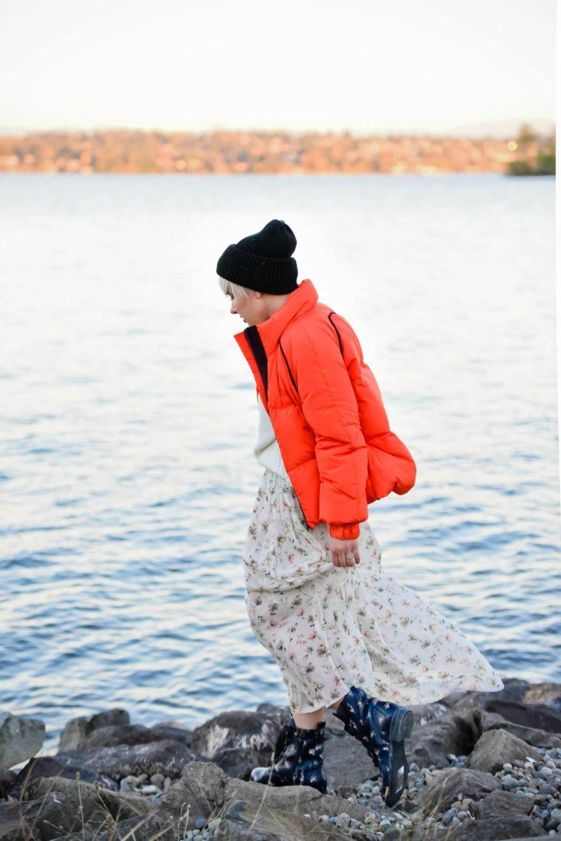 Ganni Orange Puffer Jacket