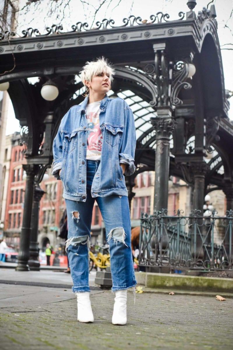 Vintage Levi's Jacket and Saint Laurent Rolling Stones T-shirt